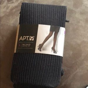 APT 9 black ribbed control top tights